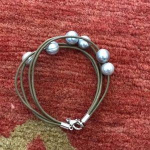 Jewelry - Gray Pearl - Brown multi strand leather bracelet